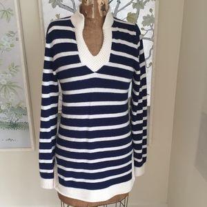 Striped Cashmere Tunic Sweater